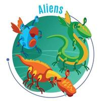 Colored Isometric Aliens Background Vector Illustration