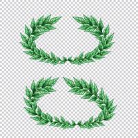 Green Laurel Wreaths Transparent Set Vector Illustration