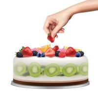Birthday Cake Realistic Image Vector Illustration