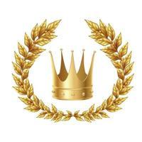 Golden Laurel Wreath And Crown Vector Illustration