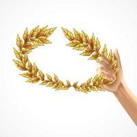 Golden Laurel Wreath In Human Hand Vector Illustration