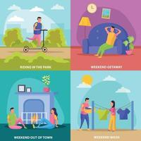 Lazy Weekends People Flat Icon Set Vector Illustration