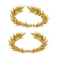 Two Golden Laurel Wreaths Vector Illustration