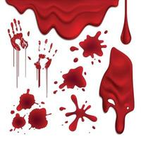 manchas de sangre conjunto realista ilustración vectorial vector