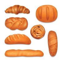 Bread Bakery Realistic Icon Set Vector Illustration