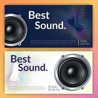 Realistic Audio System Banners Vector Illustration