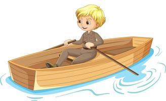 personaje de dibujos animados de niño remando el bote aislado vector