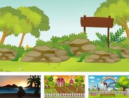 Four different nature horizontal scene vector
