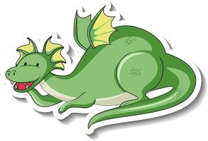 Sticker template with fantasy dragon cartoon character vector