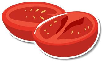 Chopped tomato sticker on white background vector