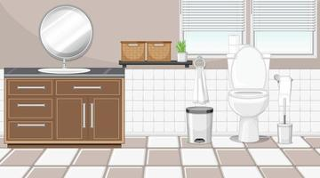 Bathroom interior with furniture in beige and white theme vector