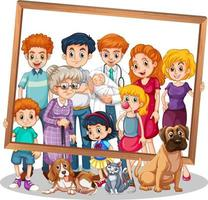 Isolated family picture with photo frame vector
