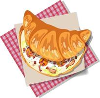 Breakfast croissant sandwich with bacon and egg isolated vector