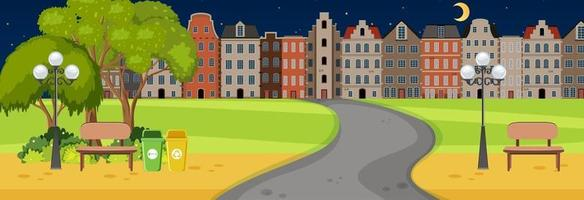 Scene at night time with road through the park into town vector