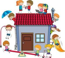 Many kids doing different activities around the house vector
