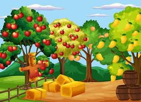 Farm scene with many different fruits trees at day time vector