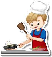 Diseño de etiqueta con niño chef cocinando comida personaje de dibujos animados vector