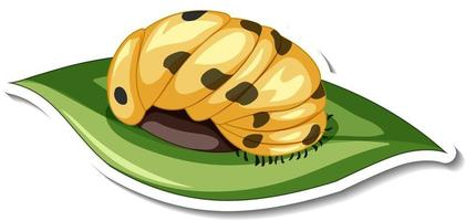 A sticker template with Caterpillar on a leaf isolated vector