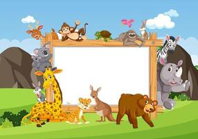 Empty wooden frame with various wild animals in the forest vector