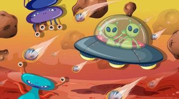 Alien and monster in space scene vector