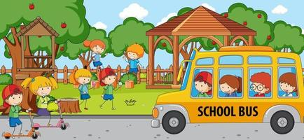Outdoor scene with many kids and school bus vector