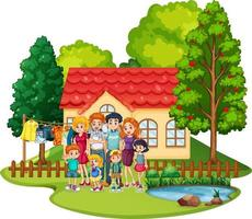 Happy family standing outside home isolated vector