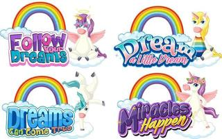 Set of different unicorn font typography with rainbows isolated vector