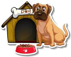 Sticker design with pug standing in front of dog house vector