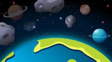 Escena del espacio exterior con planetas y asteroides. vector