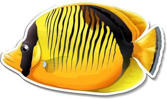 Blackbacked butterfly fish sea animal sticker vector