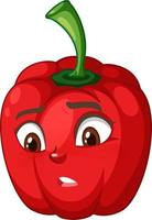 Capsicum cartoon character with facial expression vector