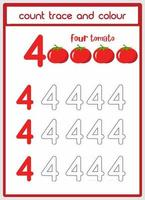 count traces and color of tomatoes number 4 vector