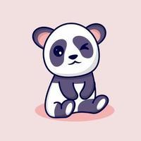 cute panda with cute smile vector