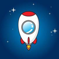 cute rocket with stars in beautiful night vector