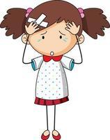 Doodle personaje de dibujos animados de una niña que tiene dolor de cabeza vector