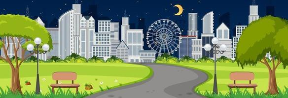 Scene with long road through the park into the town at night time vector