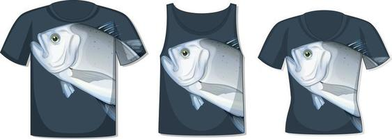 Front of t-shirt with giant trevally fish template vector