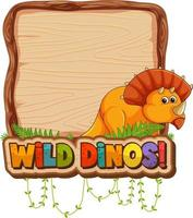 Empty board template with cute dinosaur cartoon character vector