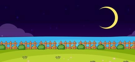 Empty park nature scene at night in simple style vector
