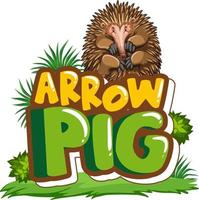 Echidna cartoon character with Arrow Pig font banner isolated vector