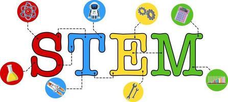 icono de texto de educación de tallo colorido vector