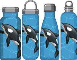 Set of different thermos bottles with orca whale pattern vector