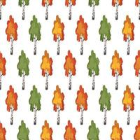 Seamless pattern with green, red and orange birch trees vector