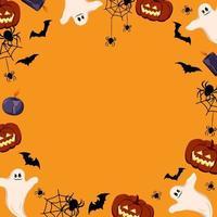 Bright frame on orange background. Halloween festive autumn decoration vector