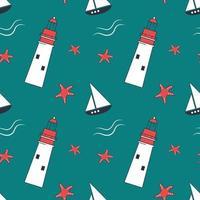 patrón transparente marino de verano con faros, estrellas de mar y barcos vector
