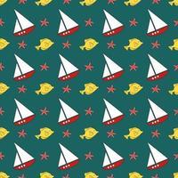 patrón de mar de verano con barcos, peces y estrellas de mar. vector