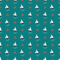 patrón náutico de verano con barcos, olas y estrellas de mar. vector