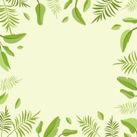 Green frame with palm leaves and blank space vector
