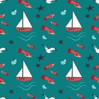 patrón marino de verano con barcos, olas, estrellas de mar, gaviotas y peces. vector