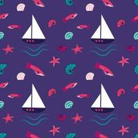 Bright marine pattern with fantastic fish, ships, starfish and shells vector